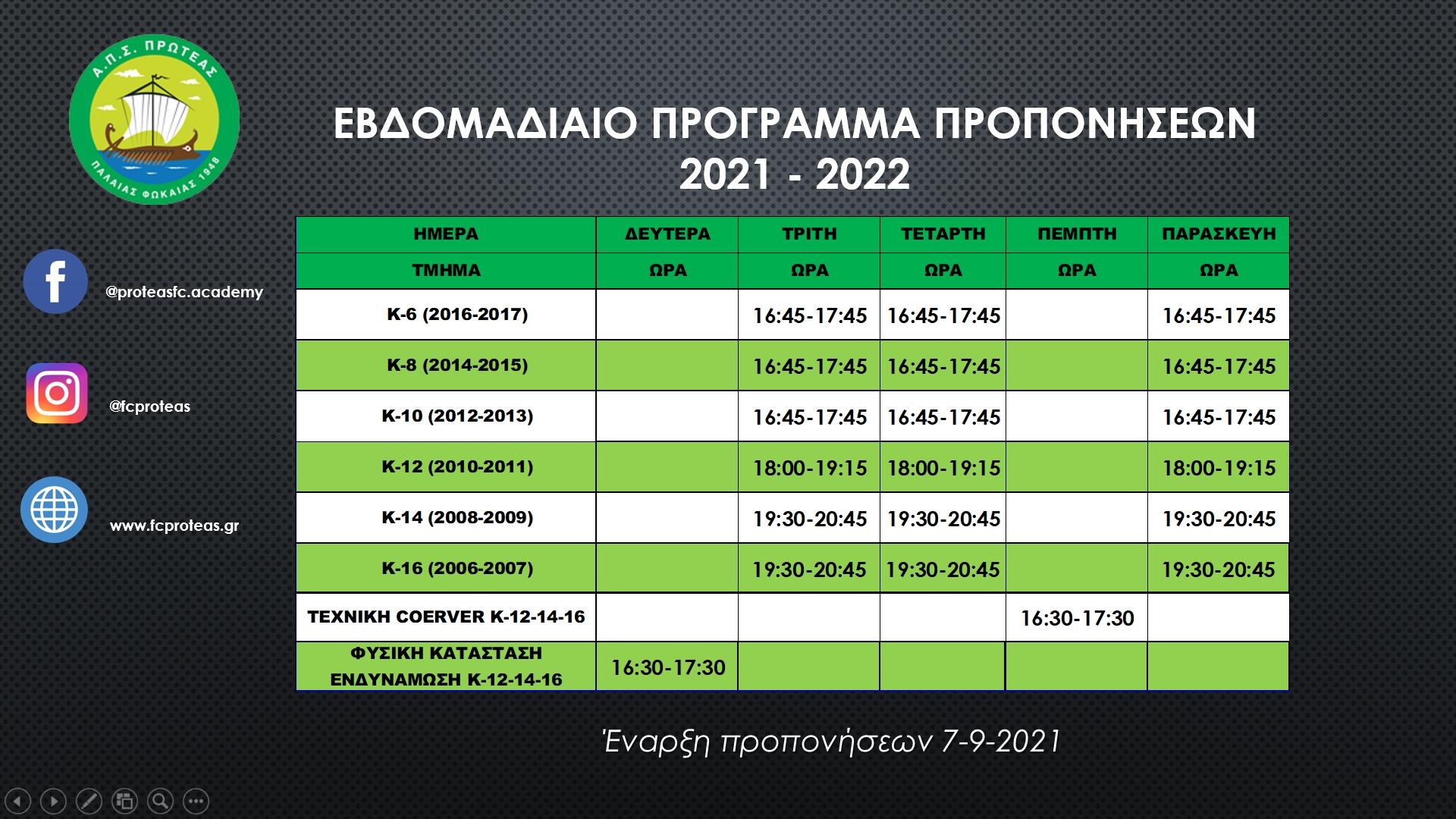ΕΒΔΟΜΑΔΙΑΙΟ ΠΡΟΓΡΑΜΜΑ ΠΡΟΠΟΝΗΣΕΩΝ 2021-2022